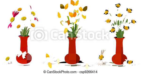 Spring colorful flowers in vases   - csp9266414