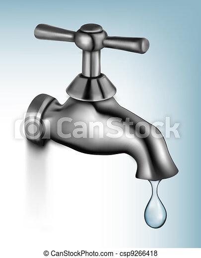 Water tap with drop  Vector illustr - csp9266418