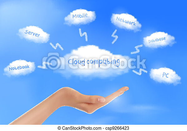 Hand with cloud computing diagram   - csp9266423