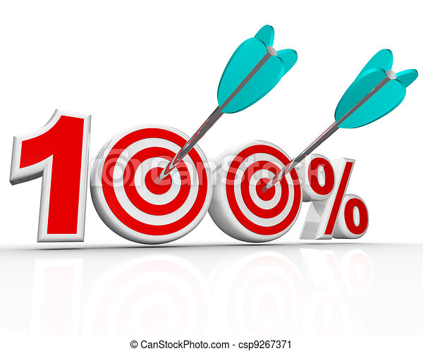 100 Percent Arrows in Targets Perfect Score - csp9267371