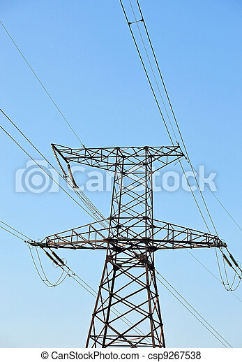 Electric lines pylon on blue sky background - csp9267538