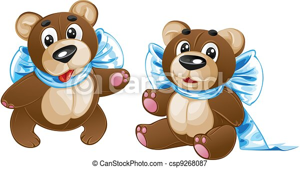 Kids soft toy - cute teddy bear with a bow in different poses - csp9268087