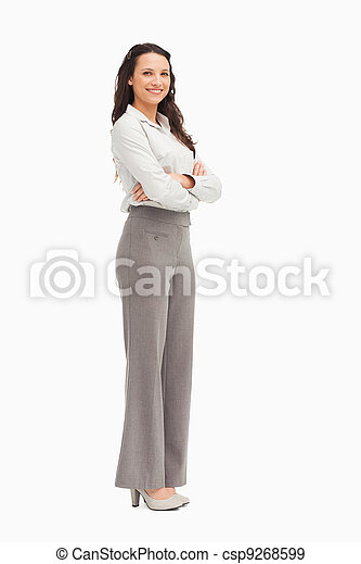 Portrait of a smiling employee with folded arms - csp9268599