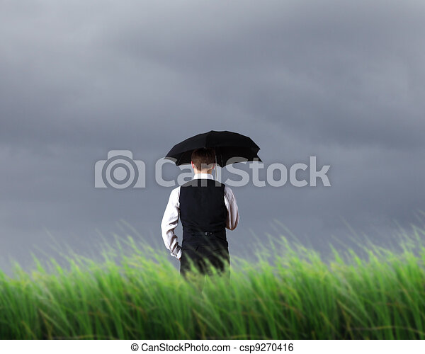 Businessman and weather - csp9270416