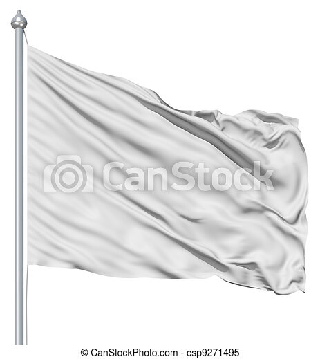 Wavy white textile flag on flagpole - csp9271495