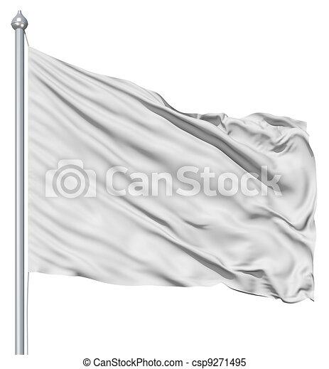 Wavy white textile flag on flagpole - csp9271495
