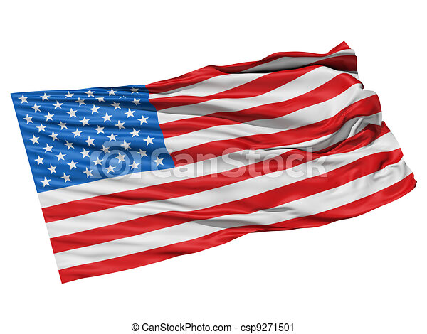 Clipart of USA flag waving in the wind. - Realistic 3d ...  Waving American Flag Outline