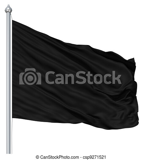 Wavy black textile flag on flagpole - csp9271521