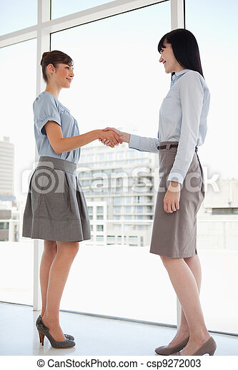 Both women smiling as they shake hands - csp9272003