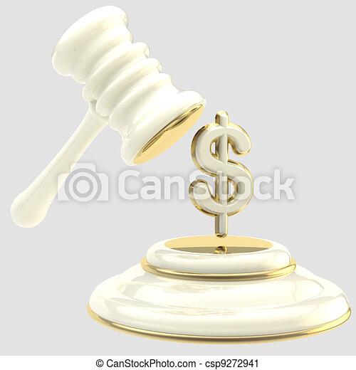 Penalty: gavel breaking dollar sign - csp9272941