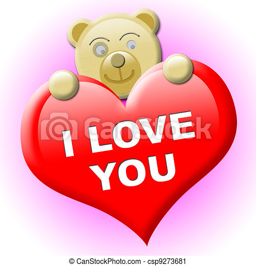 A little brown bear with heart for valentine's day - csp9273681