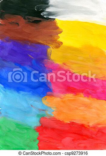 Colored watercolor brush strokes - csp9273916