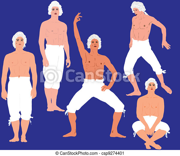 man in a bare-chested in pants - csp9274401