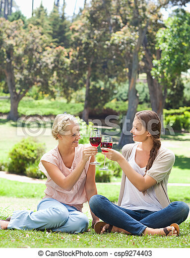 Friends clink glasses of wine in the park - csp9274403