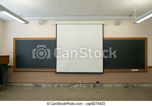 Empty Classrooms with projector screen - csp9274433