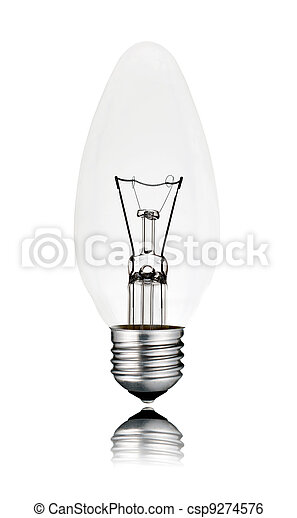 Candle Shaped Lightbulb with reflection Isolated - csp9274576