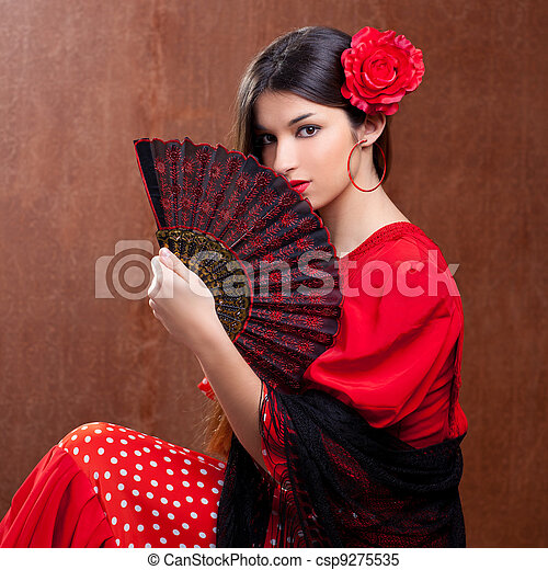Flamenco dancer woman gipsy red rose  spanish fan - csp9275535