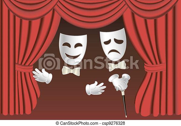 Stock de Ilustraciones de teatro, máscaras, cortinas - clásico ...