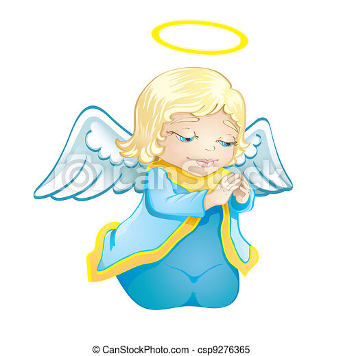 Clipart Vector of Little angel - Cartoon illustration of a cute ...