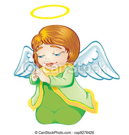 Green Dress on Clip Art Vector Of Little Angel In Green Dress   Cartoon Illustration