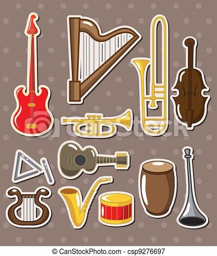 cartoon musical instruments stickers - csp9276697