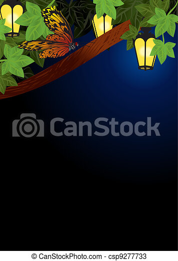 spring and summer garden lanterns lamps  night decor vector - csp9277733
