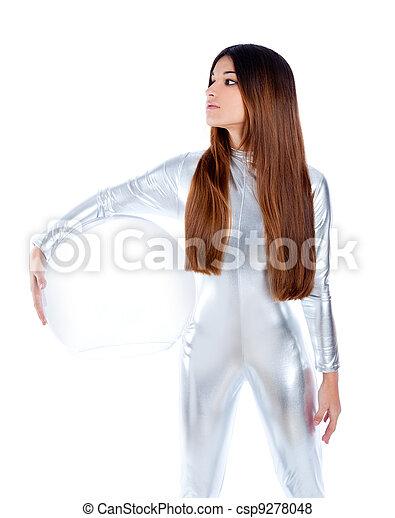 futuristic silver woman holding glass helmet - csp9278048