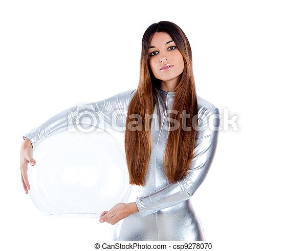 futuristic silver woman holding glass helmet - csp9278070
