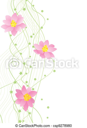 vector flower green corner on white backdrop  - csp9278980