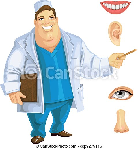 Cute fat doctor showing on part of the face - csp9279116