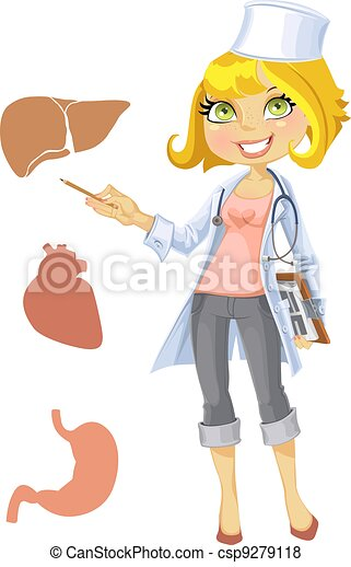 Cute blond girl doctor - csp9279118