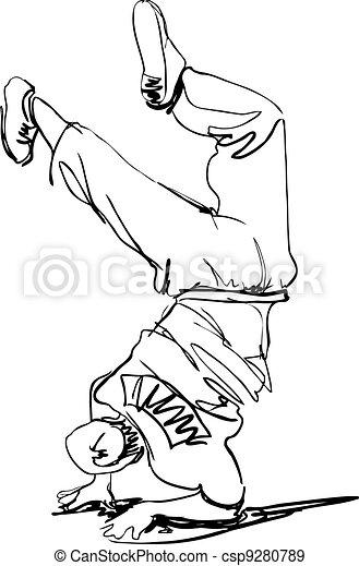 guy dancing break dance - csp9280789