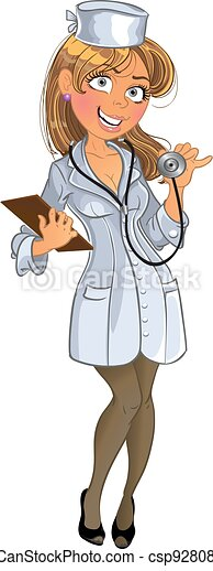 Medical girl in white uniform with phonendoscope - csp9280844