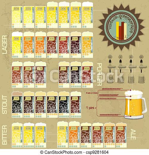 Vintage infographics set - beer icons - csp9281604