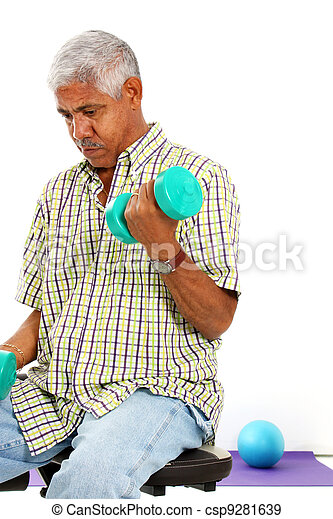 Senior Man Lifting Weights - csp9281639
