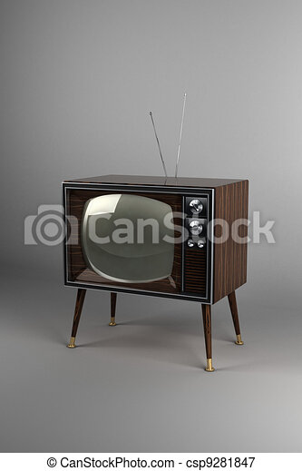 Wood Veneer Vintage TV - csp9281847