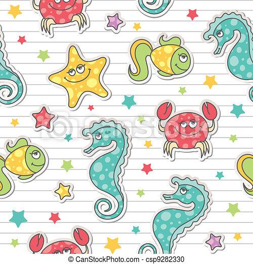 pattern of sea creatures - csp9282330