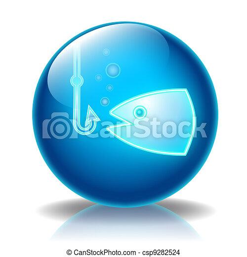 Fishing glossy icon - csp9282524