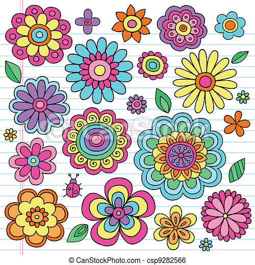 Flower Power Groovy Doodles Vectors - csp9282566