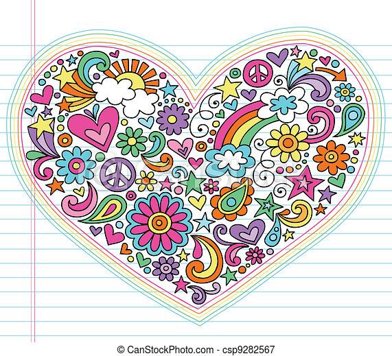 Love Heart Groovy Doodles Vector - csp9282567