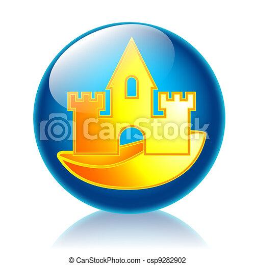 Sandcastle glossy icon  - csp9282902