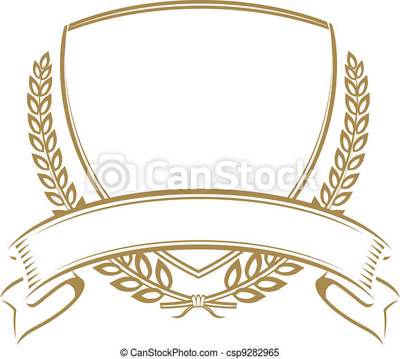 Clipart Vector Of Wheat Shield Coat Of Arms Style Shield