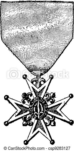 Cross of the Order of Saint-Louis, vintage engraving - csp9283127