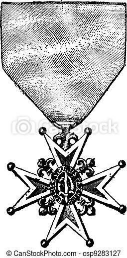 Cross of the Order of Saint-Louis, vintage engraving - csp9283127