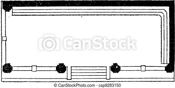 Plan View, vintage engraving - csp9283150