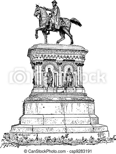 Statue of Charlemagne in Liege, Belgium, vintage engraving - csp9283191