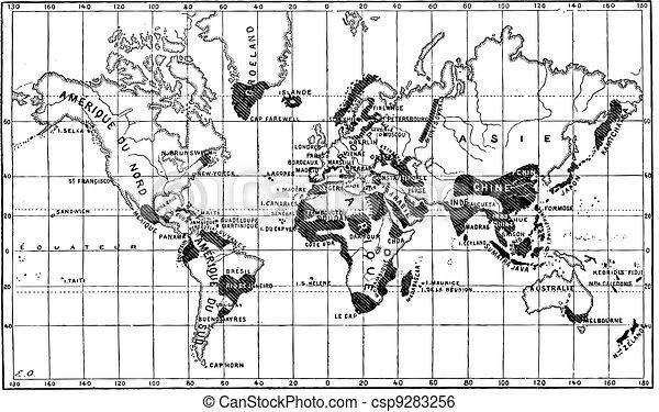 Clip Art de vectores de mapa, geográfico, occurence, Leprosy ...