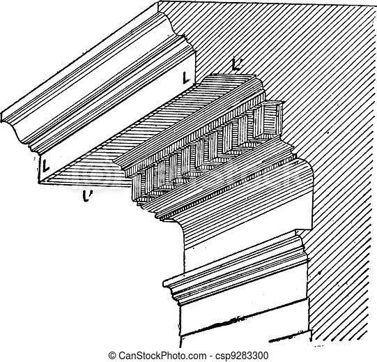 Gutta or Drip-Edge, vintage engraving - csp9283300