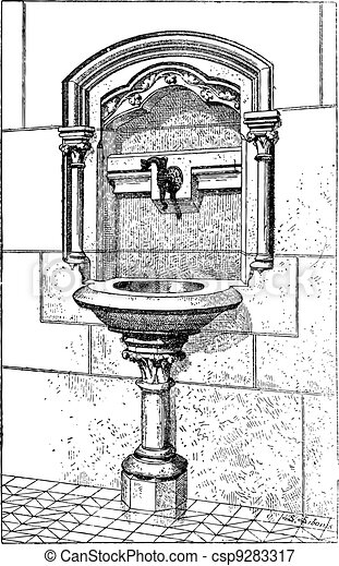 Sink at the Notre Dame Cathedral in Paris, France, vintage engraving - csp9283317