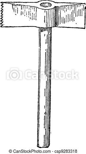 Toothed Chisel-end Hammer, vintage engraving - csp9283318